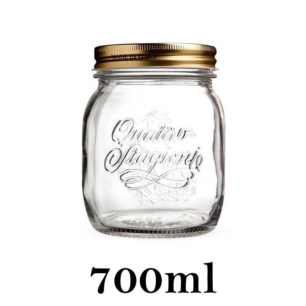 Pote Quattro Stagioni 700ml de vidro com fechamento hermético Bormioli Rocco para conservação de alimentos