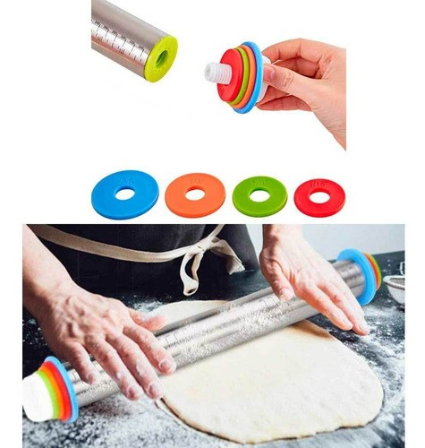 Rolo de Inox ajustável com discos para massas, pasta americana, pães, doces e salgados antiaderente