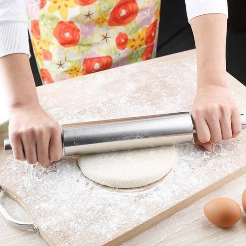 Rolo de Inox antiaderente para massas e Cortador de ravioli redondo 6cm
