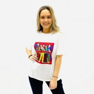 BLUSA T- SHIRT  MANACÁ BANDAS MANGA CURTA ALGODÃO OFF WHITE FEMININA