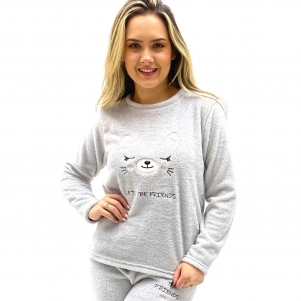 PIJAMA PZAMA FLEECE GATINHO LETS BE FRIENDS PRATA FEMININO
