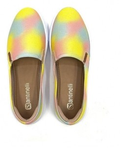 TÊNIS SANTINELLI  SLIP ON TIE DYE CASUAL  LONA COLORS FEMININO