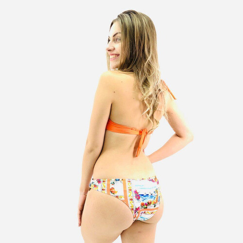 BIQUINI NEW BEACH LISO COM TANGA ESTAMPADA  FEMININO