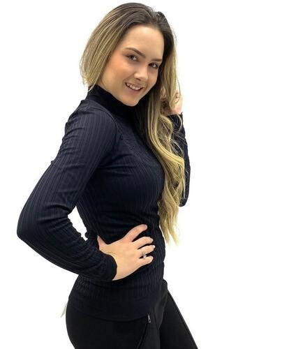 BLUSA MANGA LONGA LUPO GOLA ALTA SEM COSTURA FIO BRILHO FEMININA