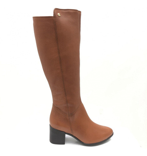 BOTA BOTTERO CANO ALTO  COURO BURNISH WOOD FEMININA