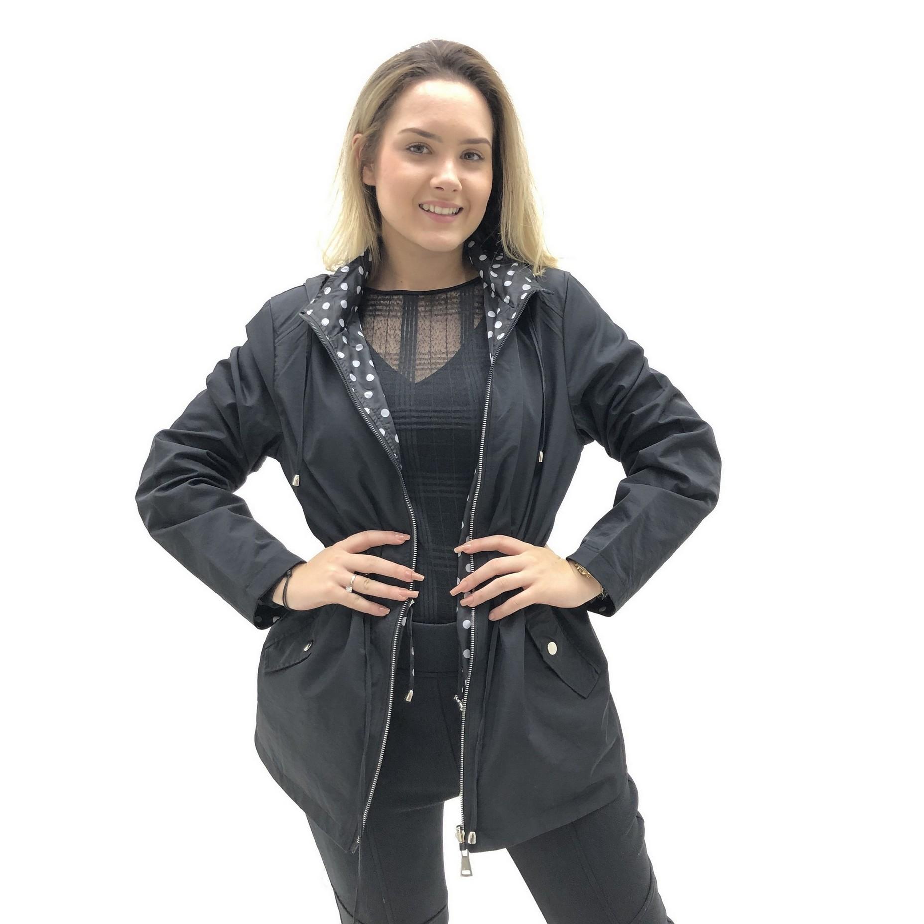 CASACO FACINELLI  PARKA DUPLA FACE  ACINTURADA POÁ FEMININA