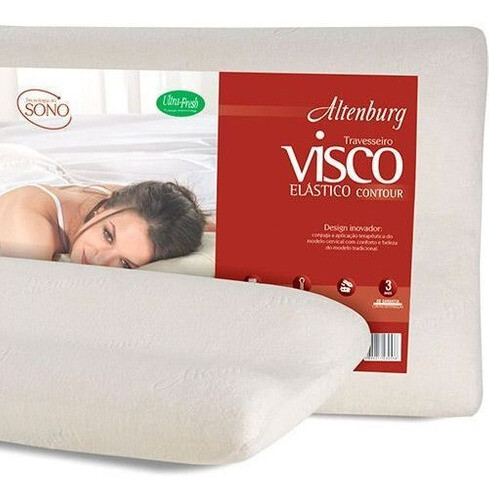 TRAVESSEIRO ALTENBURG VISCO ELÁSTICO  CERVICAL 48 X 68 MARFIM