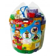 Blocos de Montar Super Blocks 80 Peças Grandes Sortidos - World Blocks Kids