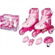 Meu 1º Patins Tri-line Ajustáveis com Acessórios 26 ao 29 Rosa - Fenix Brinquedos