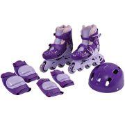 Patins In-Line Ajustáveis com Kit Segurança 30 a 33 Roxo - Fenix Brinquedos