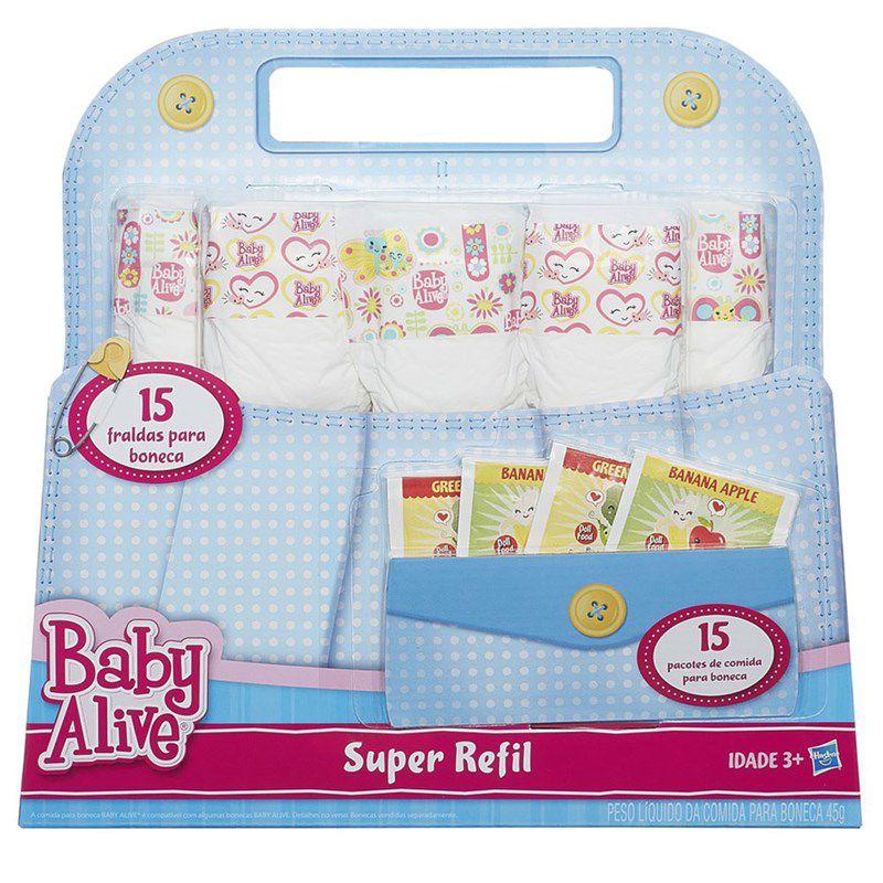 Baby Alive Super Refil de Fralda e Comidinha - Hasbro