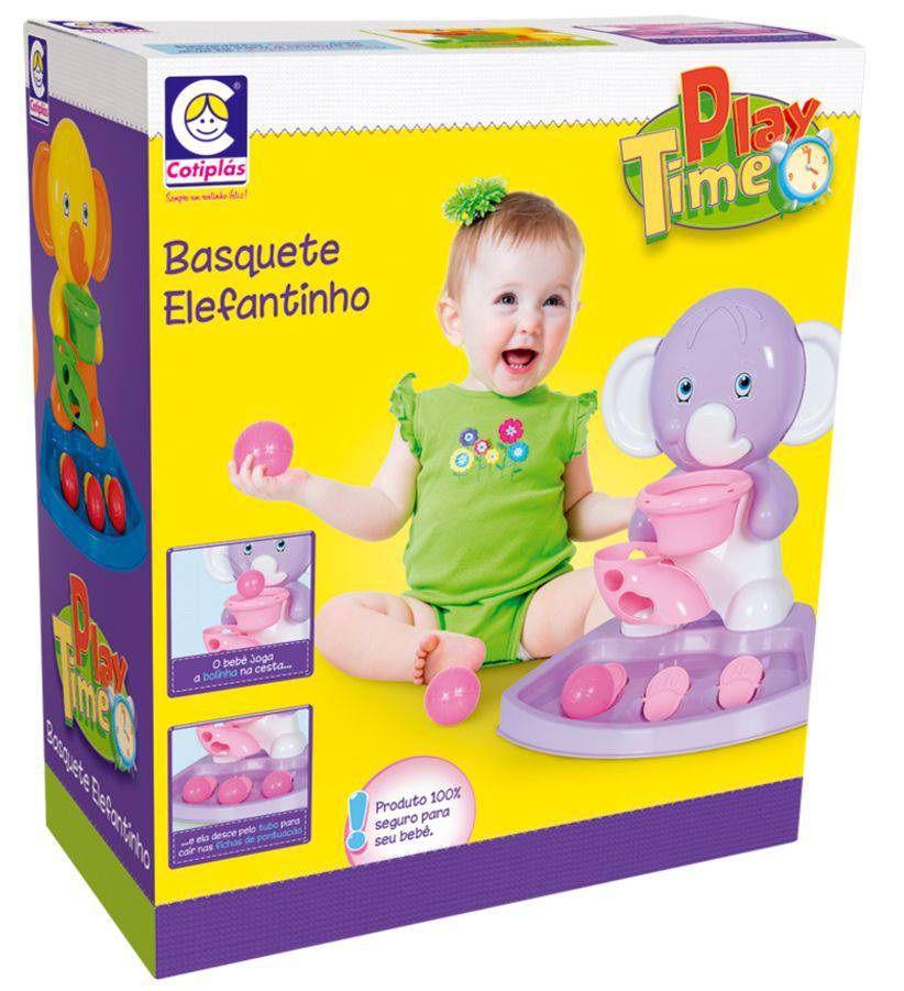 Basquete Elefantinho Play Time Rosa - Cotiplás