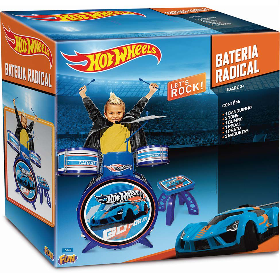 Bateria Radical Hot Wheels Let's Rock - FUN