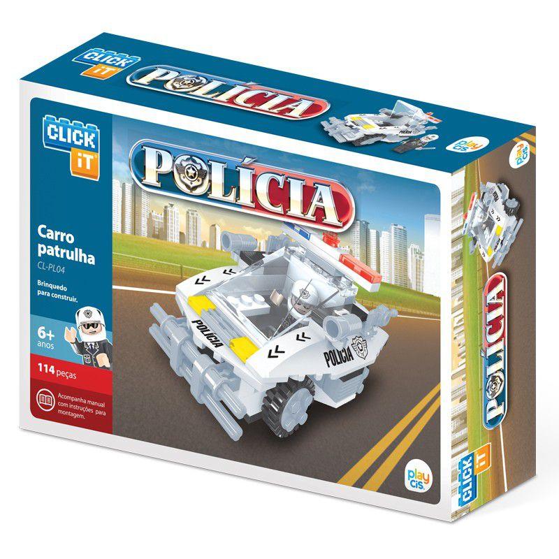 Blocos de Montar Carro Patrulha Policial Click It com 114 Peças - PlayCis