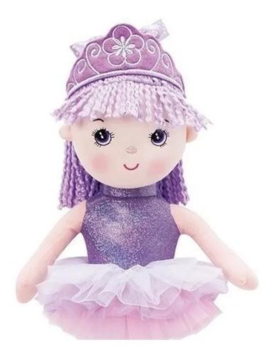 Boneca de Pano Princesa Bailarina Lilás - Buba