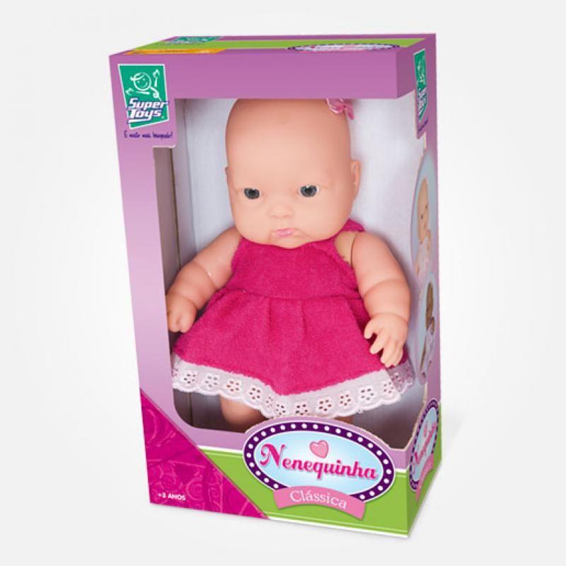 Boneca Nenequinha Clássica Vestido Pink - Super Toys