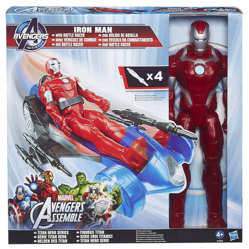 Boneco Titan Hero Series Marvel Avengers Assemble Initiative Iron Man com Carro - Hasbro