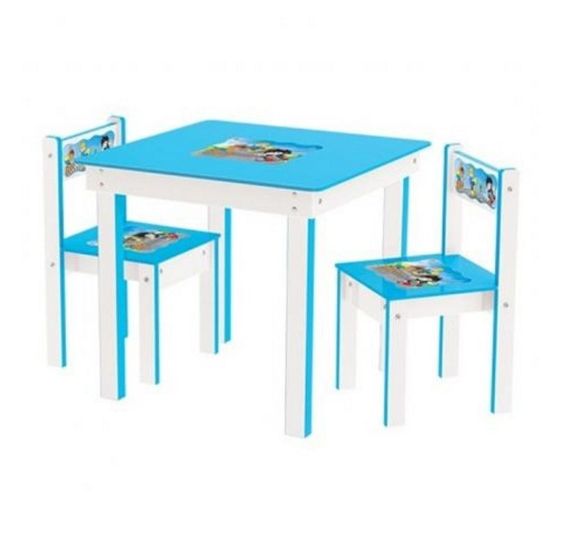 Conjunto de Mesa com 2 Cadeiras Azul em Madeira - Junges