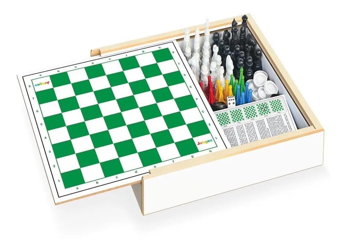 Jogo 4 em 1 Xadrez, Damas, Trilha e Ludo - Junges