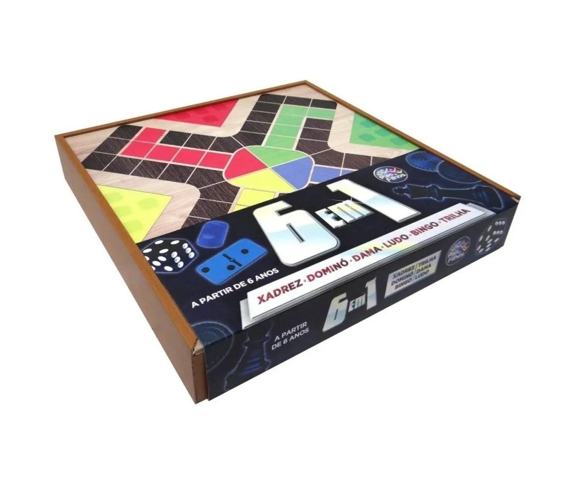 Jogo 6 em 1 Xadrez, Dominó, Dama, Ludo, Bingo e Trilha - Pais e Filhos