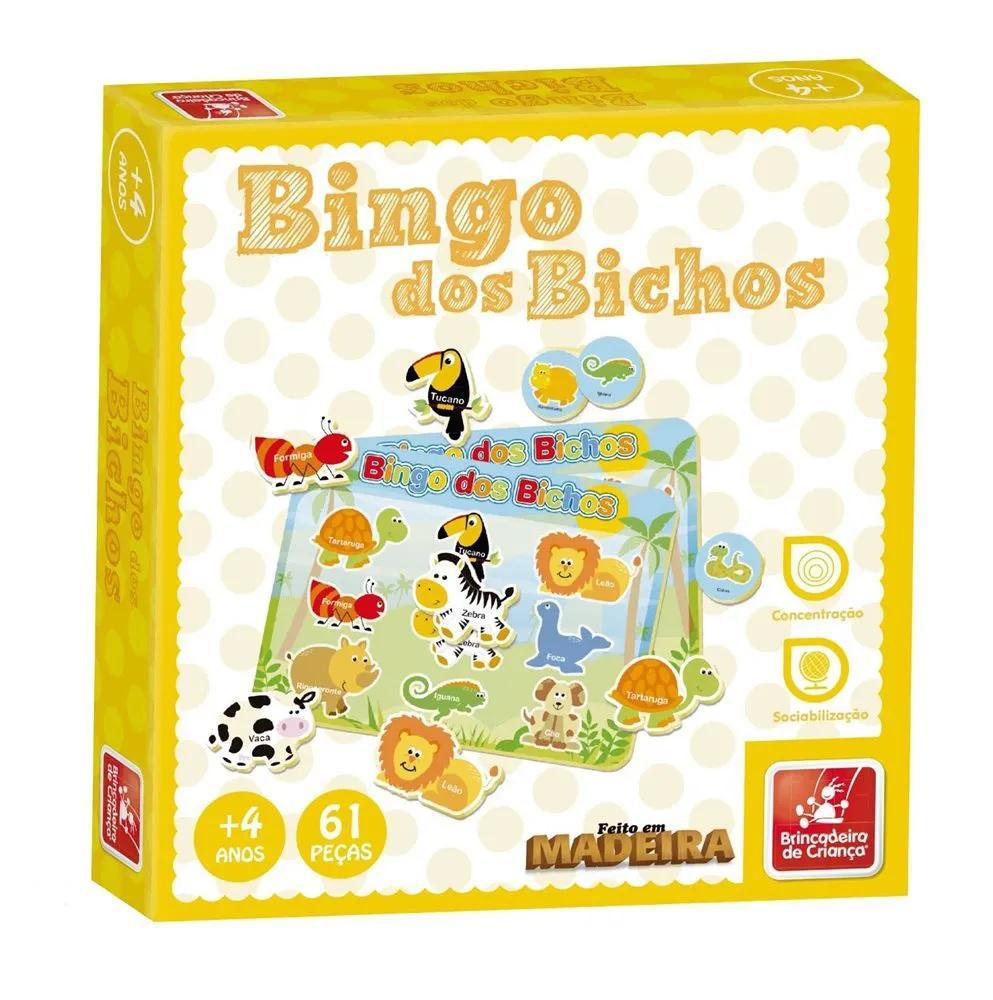 Jogo Bingo dos Bichos em Madeira - Brincadeira de Criança