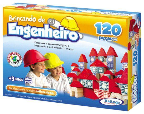 Jogo Brincando de Engenheiro 120 Peças em Madeira - Xalingo