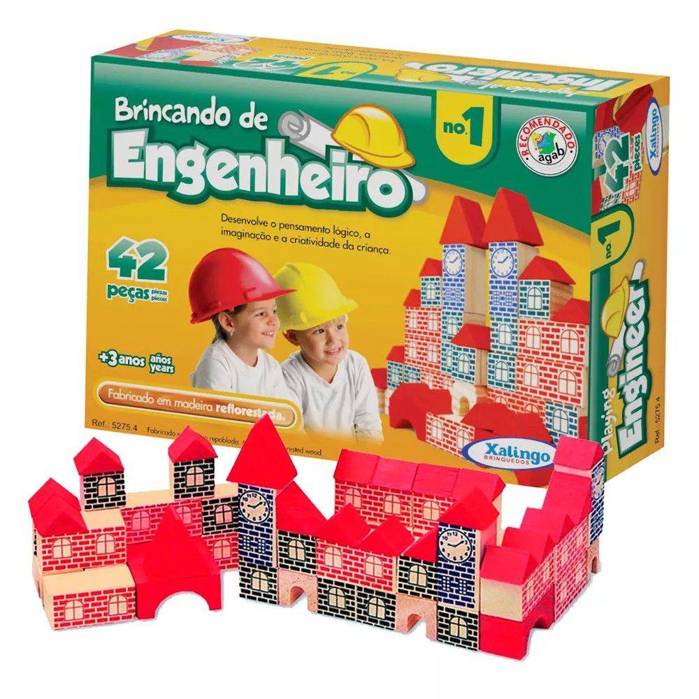Jogo Brincando de Engenheiro 42 Peças em Madeira - Xalingo