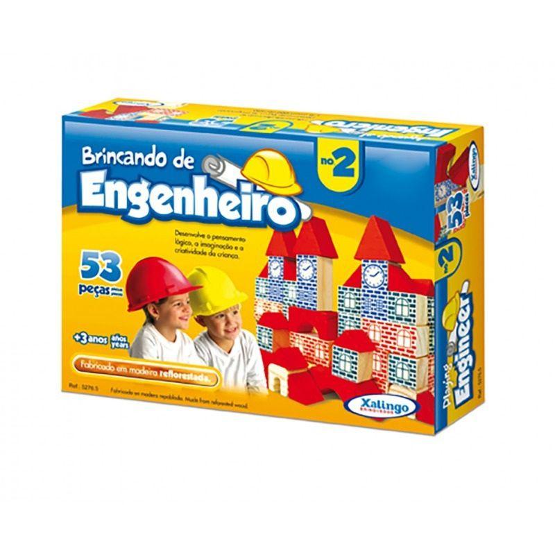Jogo Brincando de Engenheiro 53 Peças em Madeira - Xalingo