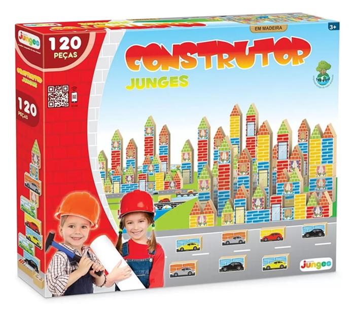 Jogo Construtor 120 Peças em Madeira - Junges