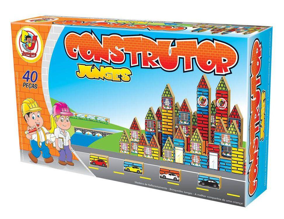 Jogo Construtor em Madeira 40 Peças- Junges