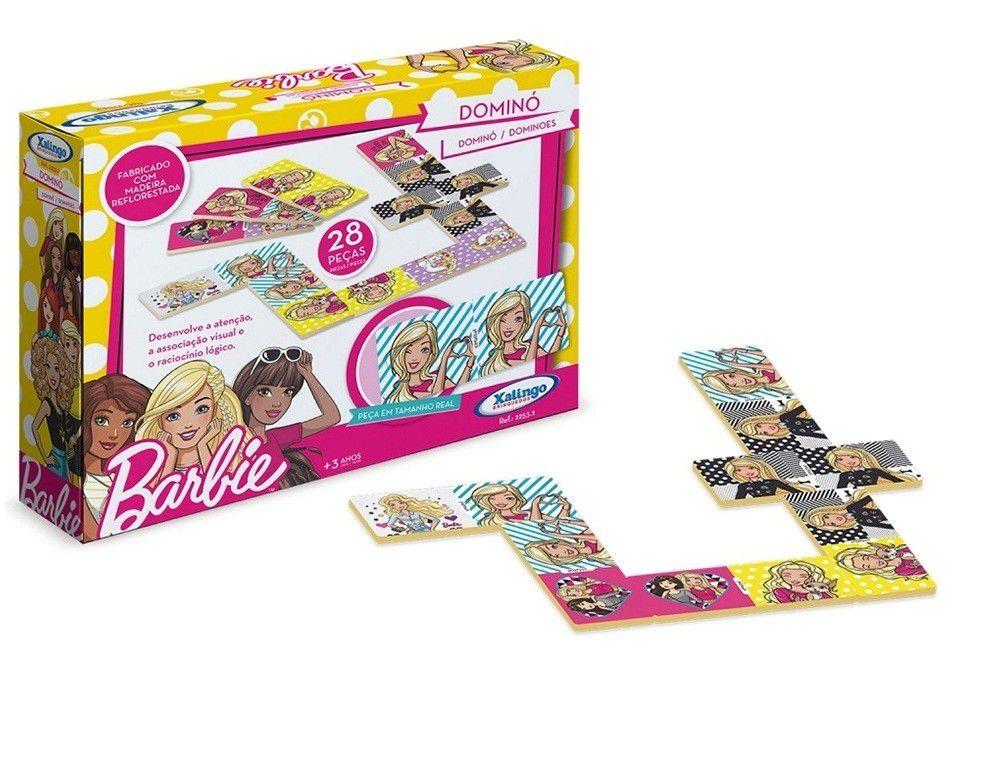 Jogo Dominó Barbie em Madeira 28 Peças - Xalingo