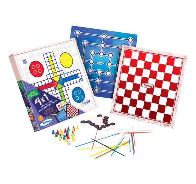 Jogos Clássicos 4 em 1 Damas, Ludo, Pega-varetas e Trilha - Xalingo