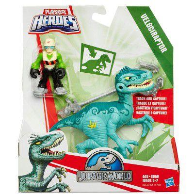 Jurassic World Dinossauro Velociraptor e Caçador Playskool Heroes - Hasbro