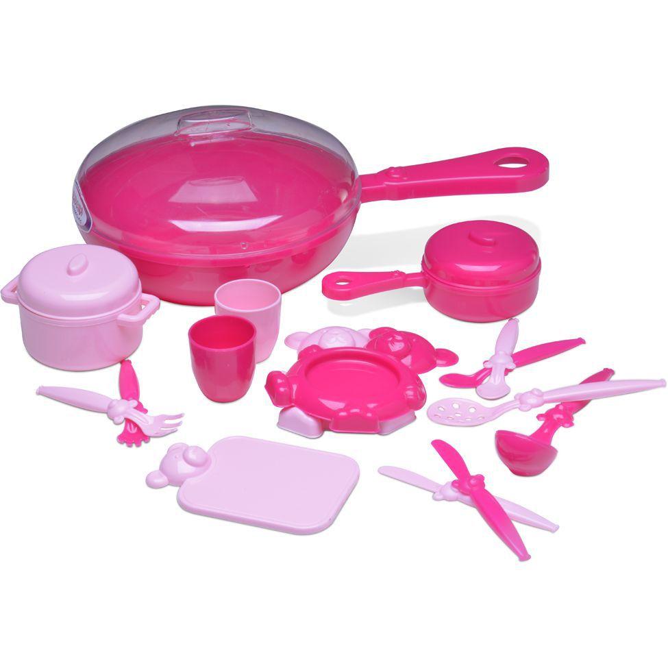 Kit de Cozinha Frigideira com Acessórios Pink - Roma Brinquedos