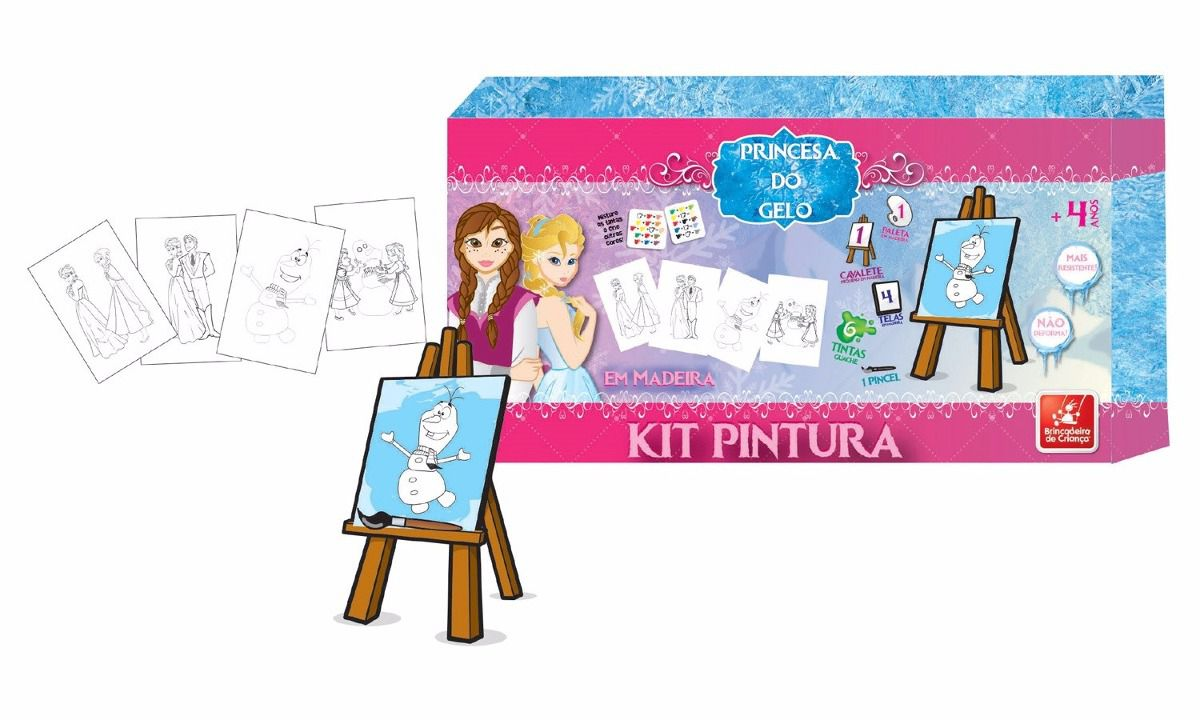 Kit de Pintura Princesa do Gelo em Madeira - Brincadeira de Criança