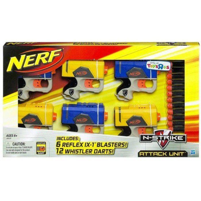 Lançador de Dardos Nerf N-Strike Attack Unit 6 Pistolas - Hasbro