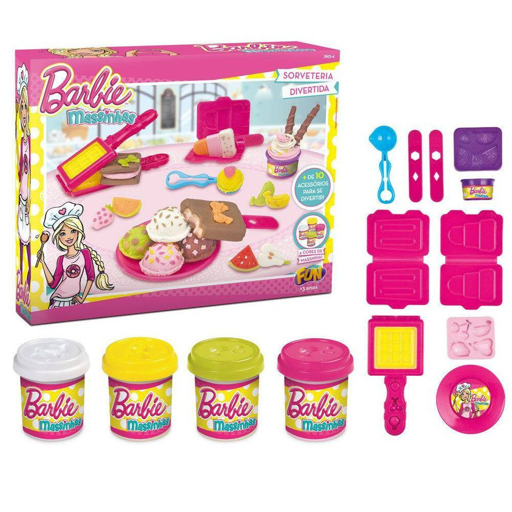 Massinha Barbie Sorveteria Divertida - FUN