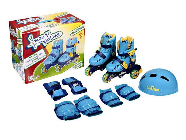 Meu 1º Patins Tri-line Ajustáveis com Kit Segurança 26 ao 29 Azul - Fênix
