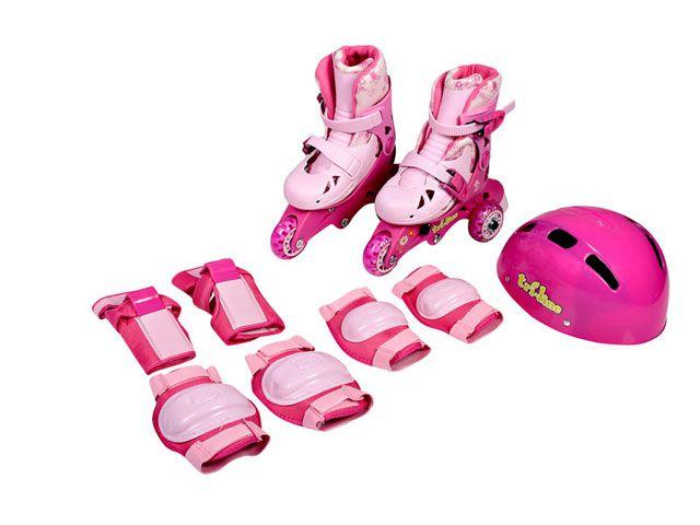 Meu 1º Patins Tri-line Ajustáveis com Kit Segurança Rosa - Fênix