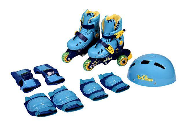 Meu 1º Patins Tri-line Ajustáveis com Kit Segurança 30 ao 33 Azul - Fênix