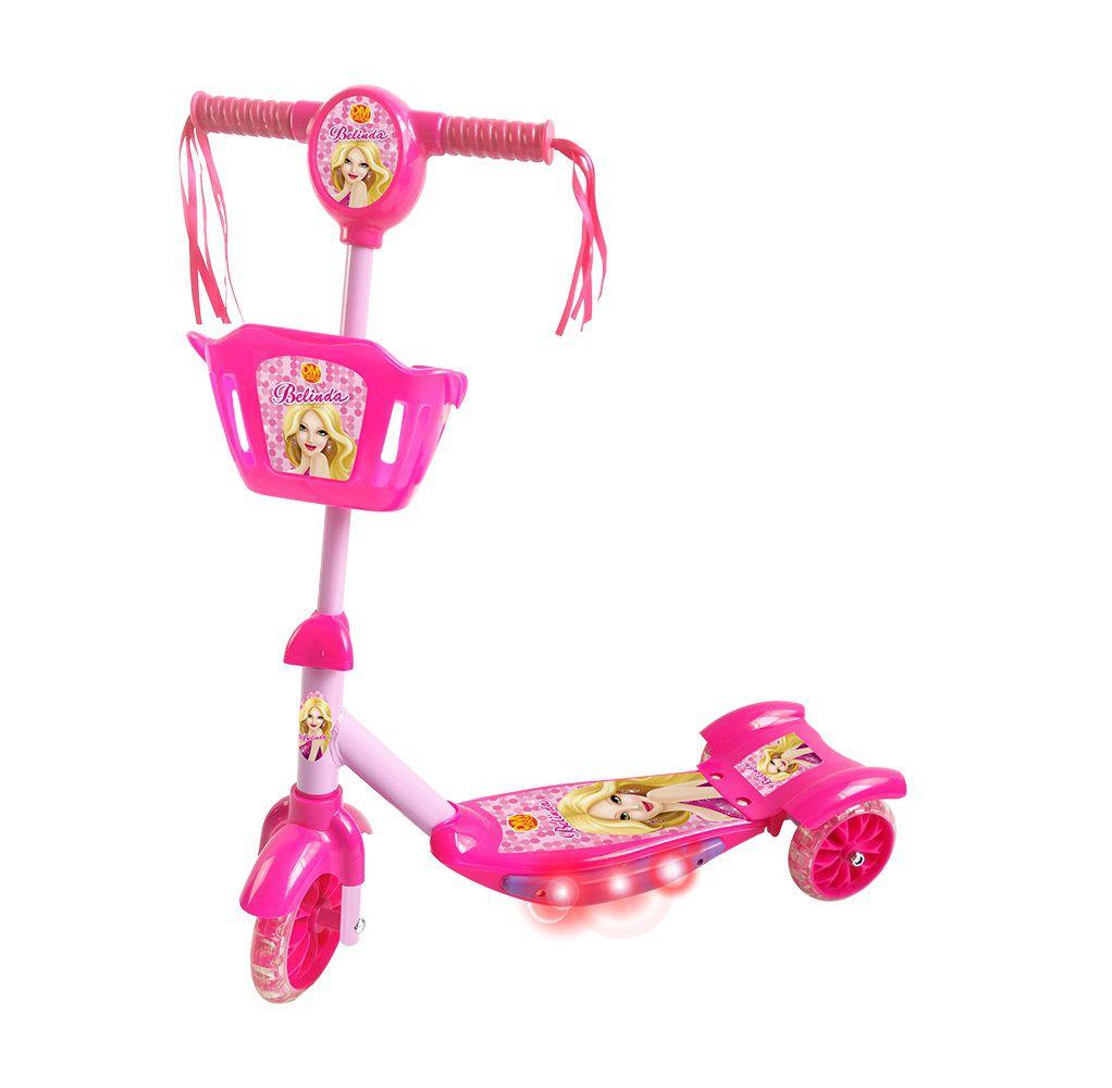 Patinete Belinda 3 Rodas com Cesta Luz e Som - Dm Toys
