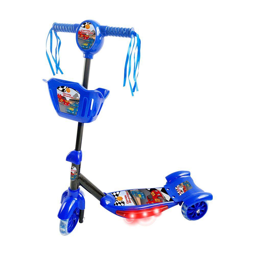 Patinete Corrida Divertida 3 Rodas com Cesta Luz e Som - Dm Toys