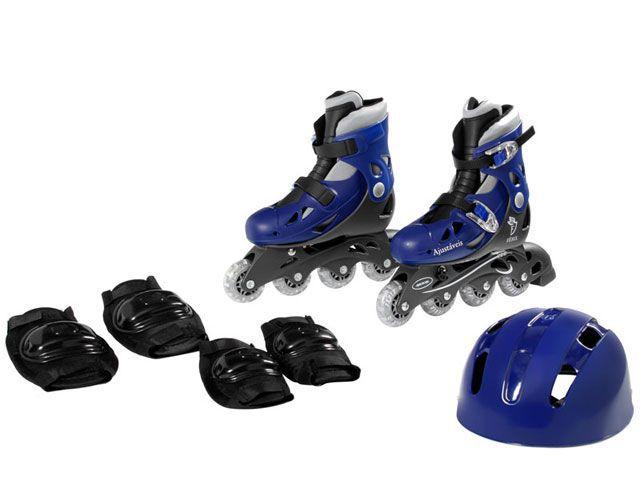Patins In-Line Ajustáveis com Kit Segurança 34 ao 37 Azul - Fenix Brinquedos