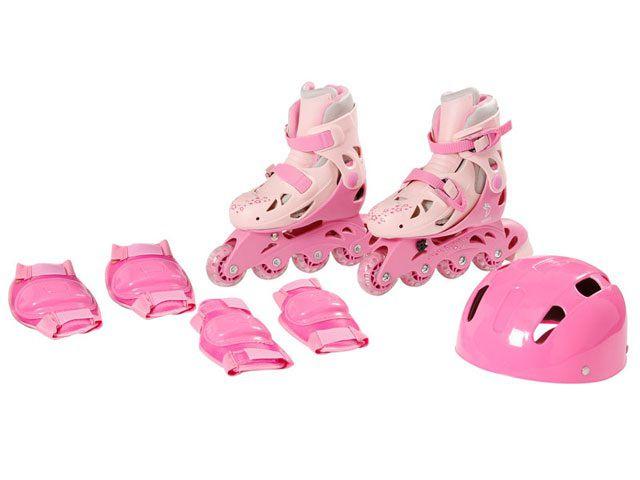 Patins In-Line Ajustáveis com Kit Segurança 38 ao 41 Rosa - Fênix
