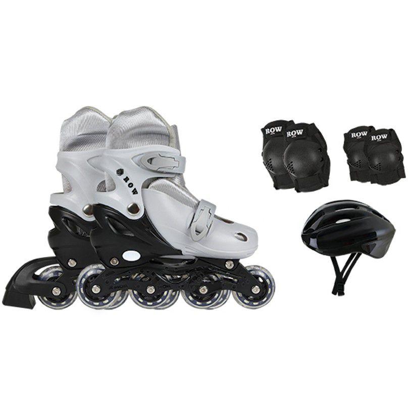 Patins In-Line Kit Roller Infantil com Mochila 31 ao 34 Cinza - Mor