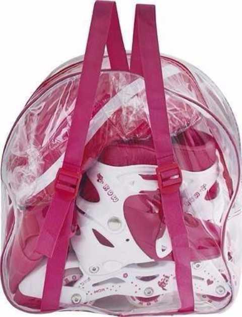 Patins In-Line Kit Roller Infantil com Mochila 31 ao 34 Rosa - Mor