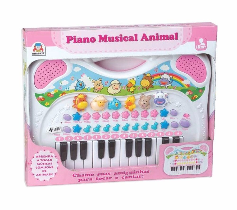 Piano Musical Animal Rosa - Braskit