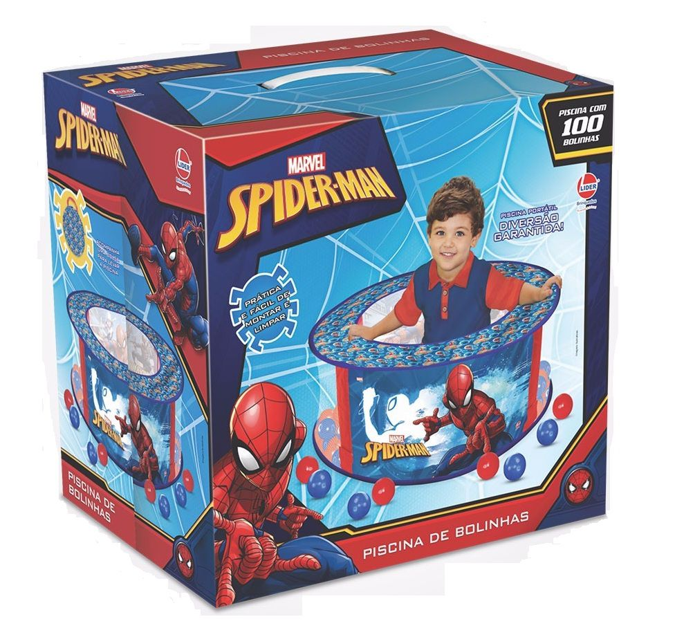 Piscina de Bolinhas Marvel Homem Aranha com 100 Bolinhas - Lider Brinquedos