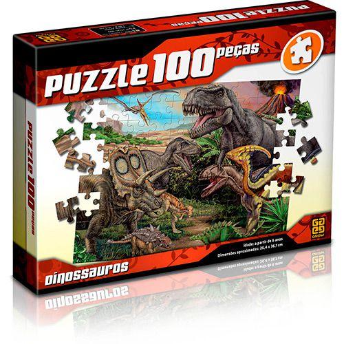 Quebra-cabeça Dinossauros Puzzle com 100 Peças - Grow