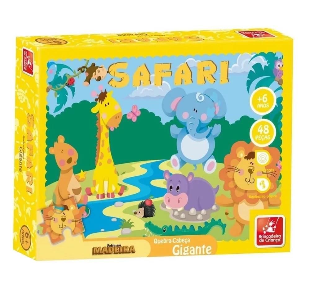 Quebra-cabeça Gigante Safari em Madeira - Brincadeira de Criança